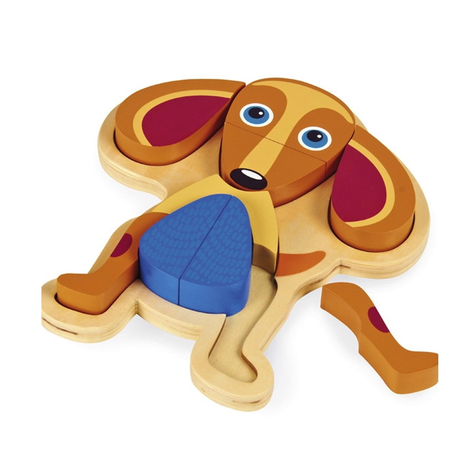 Деревянный пазл OOPS Собака, 9 элементовO 16002.22С помощью деревянного пазла OOPS Собака вы и ваш малыш сможете собрать изображение в виде милой собачки. При помощи девяти больших деталей малыш без труда сможет собрать фигурку, выкладывая части пазла на деревянную основу, которая имеет специальное углубление. Игрушка изготовлена из абсолютно безопасного, нетоксичного и прочного материала. Деревянный пазл OOPS Собака познакомит ребенка с основными цветами и разными формами. Малышу будет очень интересно собирать его! Занятия с пазлом тренируют пространственное и логическое мышление, координацию движений и развивают мелкую моторику.