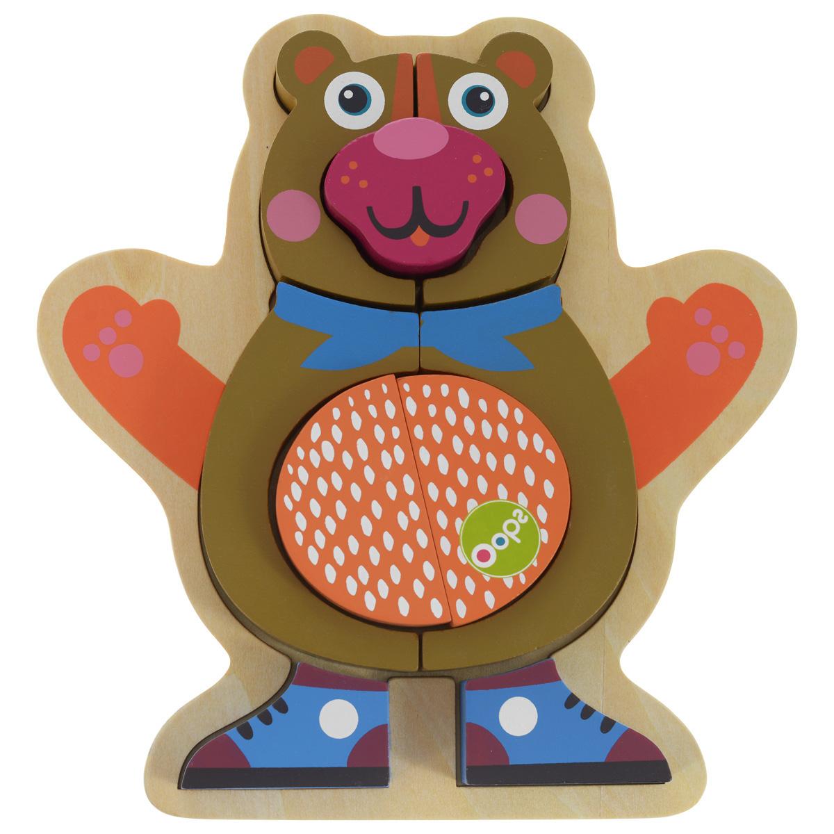 Деревянный пазл Oops Медвежонок, 9 элементовO 16002.11С помощью деревянного пазла Oops Медвежонок, состоящего из 9-ти деталей, малыш без труда сможет собрать фигурку медвежонка, выкладывая части пазла на деревянную основу со специальными углублениями. Игрушка изготовлена из абсолютно безопасного, нетоксичного и прочного материала. Деревянный пазл Oops Медвежонок познакомит ребенка с основными цветами и разными формами. Малышу будет очень интересно собирать его. Занятия с пазлом тренируют пространственное и логическое мышление, координацию движений и развивают мелкую моторику.
