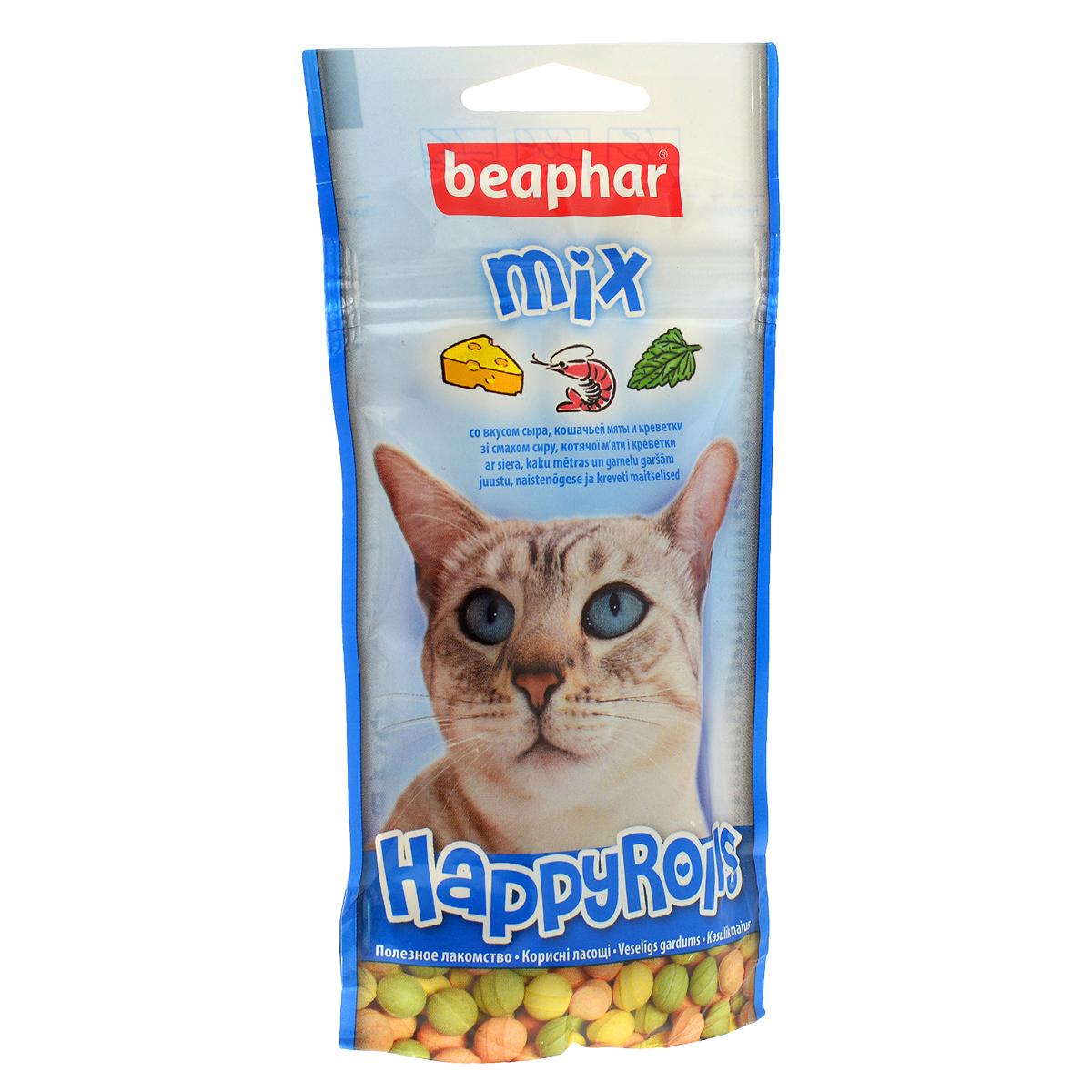 Лакомство для кошек Beaphar Happy Rolls Mix, цвет: синий, 80 шт13184_синийЛакомство Beaphar Happy Rolls Mix с креветками, сыром и кошачьей мятой для кошек очень вкусно и полезно. Оно содержит витамины, минералы и микроэлементы. Улучшает настроение, а также помогает уберечь кошку от стрессов. Применяется в качестве лакомства для кошек, начиная с 6-месячного возраста. Состав: молоко и молочные продукты, сахар, минералы, мясо и мясопродукты (более 4% ливер), рыба и рыбопродукты (более 4% креветок). Анализ: протеин (8,8%), жиры (2,8%), клетчатка (7,4%), зола (12,8%), влага (4,7%), кальций (1,8%), фосфор (1,3%), натрий (0,2%). Добавки: микрокристаллическая целлюлоза Е 460, стеарат кальция E 470. Количество в упаковке: 80 шт. Товар сертифицирован.