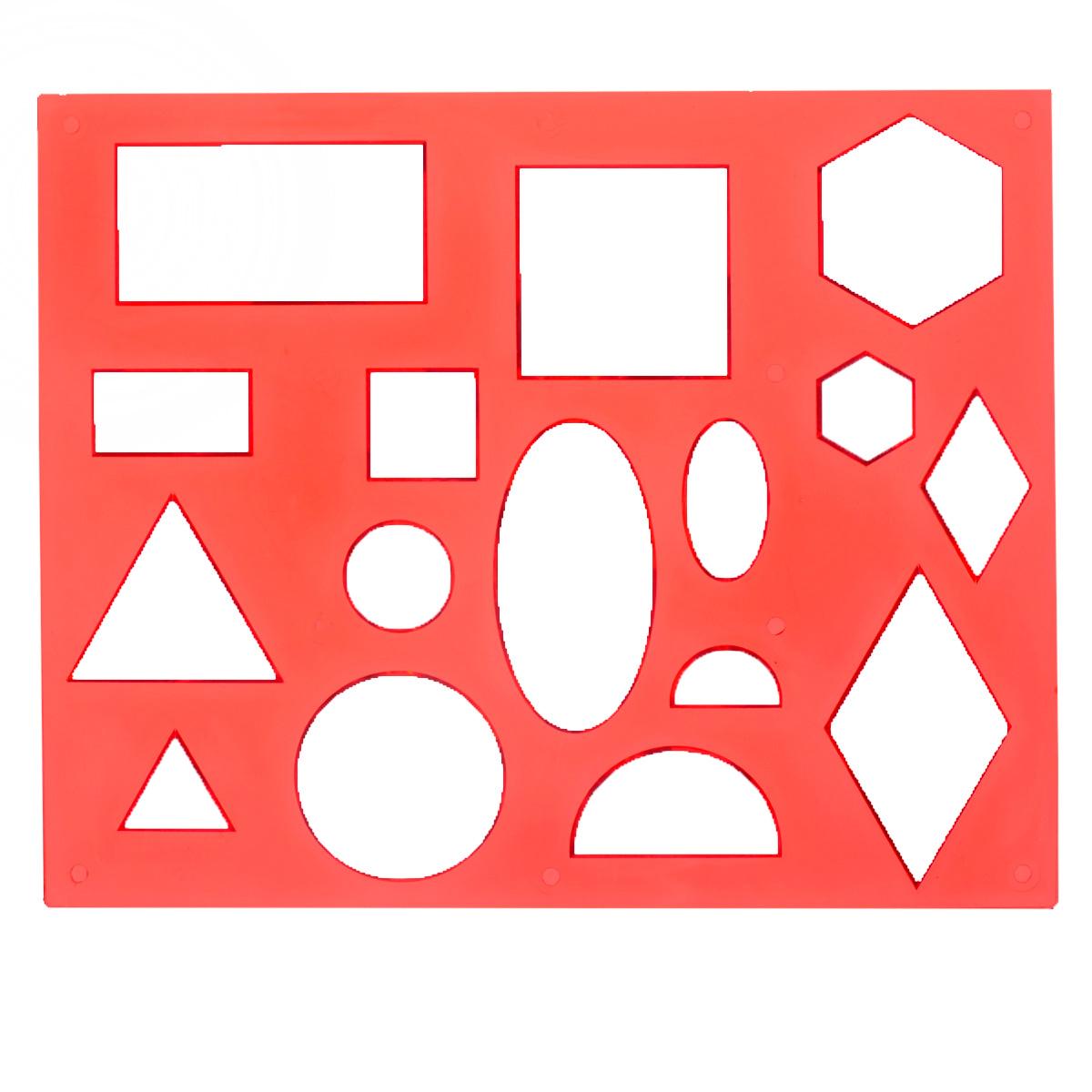 Трафарет Луч Геометрические фигуры № 1, цвет: красный12С 836-08Трафарет Геометрические фигуры № 1, изготовленный из безопасного пластика, предназначен для удобного и быстрого изображения геометрических фигур и их комбинаций, а также для создания аппликаций. В трафарете вырезаны такие фигуры, как: круг, овал, полукруг, ромб, квадрат, прямоугольник и шестиугольник, которые встречаются дважды в разных размерах. Трафарет позволяет ребенку выучить названия и вид различных фигур, одновременно развивая мелкую моторику и навыки рисования, а также может применяться для оформительских работ.