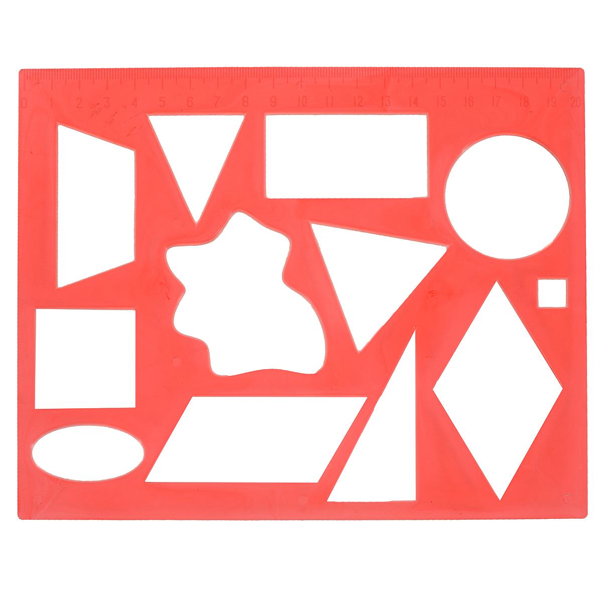 Трафарет Луч Геометрические фигуры № 2, цвет: красный12С 837-08Трафарет Геометрические фигуры № 2, изготовленный из безопасного пластика, предназначен для удобного и быстрого изображения геометрических фигур и их комбинаций, а также для создания аппликаций. В трафарете вырезаны фигуры разной величины: круг, квадрат, треугольник, прямоугольник, ромб, овал, трапеция. На одной стороне трафарета линейка 20 см. Трафарет позволяет ребенку выучить названия и вид различных фигур, одновременно развивая мелкую моторику и навыки рисования, а также может применяться для оформительских работ.