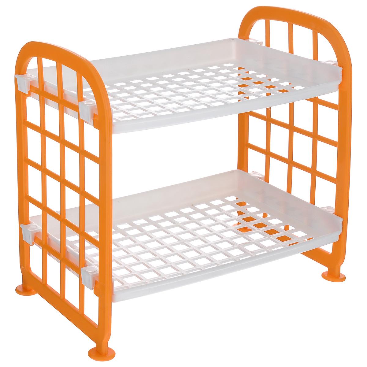 Этажерка Sima-land, 2-х ярусная, цвет: белый, оранжевый, 21 х 14 х 21 см862452_оранжевыйЭтажерка Sima-land выполнена из высококачественного прочного пластика в виде двухъярусной кровати. Содержит 2 прямоугольные полки, оформленные перфорацией в виде квадратов. Этажерка предназначена для хранения различных бытовых предметов в ванне, комнате и на кухне. Легко складывается и раскладывается. Размер этажерки (ДхШхВ): 21 см х 14 см х 21 см. Размер полки (ДхШхВ): 21 см х 14 см х 2 см.