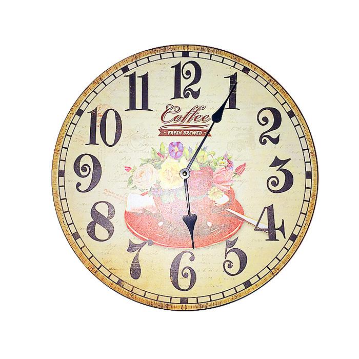 Настенные часы Летний букет. МДФ. 2000-е годы118998-040Настенные часы в винтажном стиле Летний букет. МДФ. 2000-е годы. Диаметр часов 34 см. Сохранность отличная. Часы работают от батареи. Батарейка к часам не прилагается.