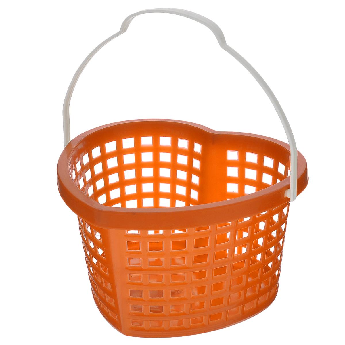 Корзина Sima-land Сердце, цвет: оранжевый, 19 см х 17 см х 12 см185378_оранжевыйКорзина Sima-land Сердце, изготовленная из высококачественного прочного пластика, предназначена для хранения мелочей в ванной, на кухне, даче или гараже. Изделие выполнено в виде сердца и оснащено эргономичной ручкой для переноски. Это легкая корзина со сплошным дном, жесткой кромкой и небольшими отверстиями, которая позволяет хранить мелкие вещи, исключая возможность их потери.