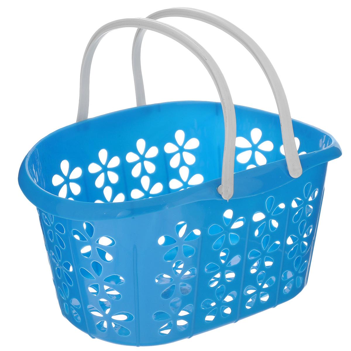 Корзинка Sima-land, с ручками, цвет: синий, 22,5 х 16,5 х 12 см139077 синийКорзинка Sima-land, изготовленная из высококачественного прочного пластика, предназначена для хранения мелочей в ванной, на кухне, даче или гараже. Изделие оснащено двумя удобными складными ручками. Это легкая корзина с сетчатым дном, жесткой кромкой и небольшими отверстиями позволяет хранить средние вещи в одном месте, исключая возможность их потери. Сетчатое дно исключает скопление пыли и влаги на дне корзины.
