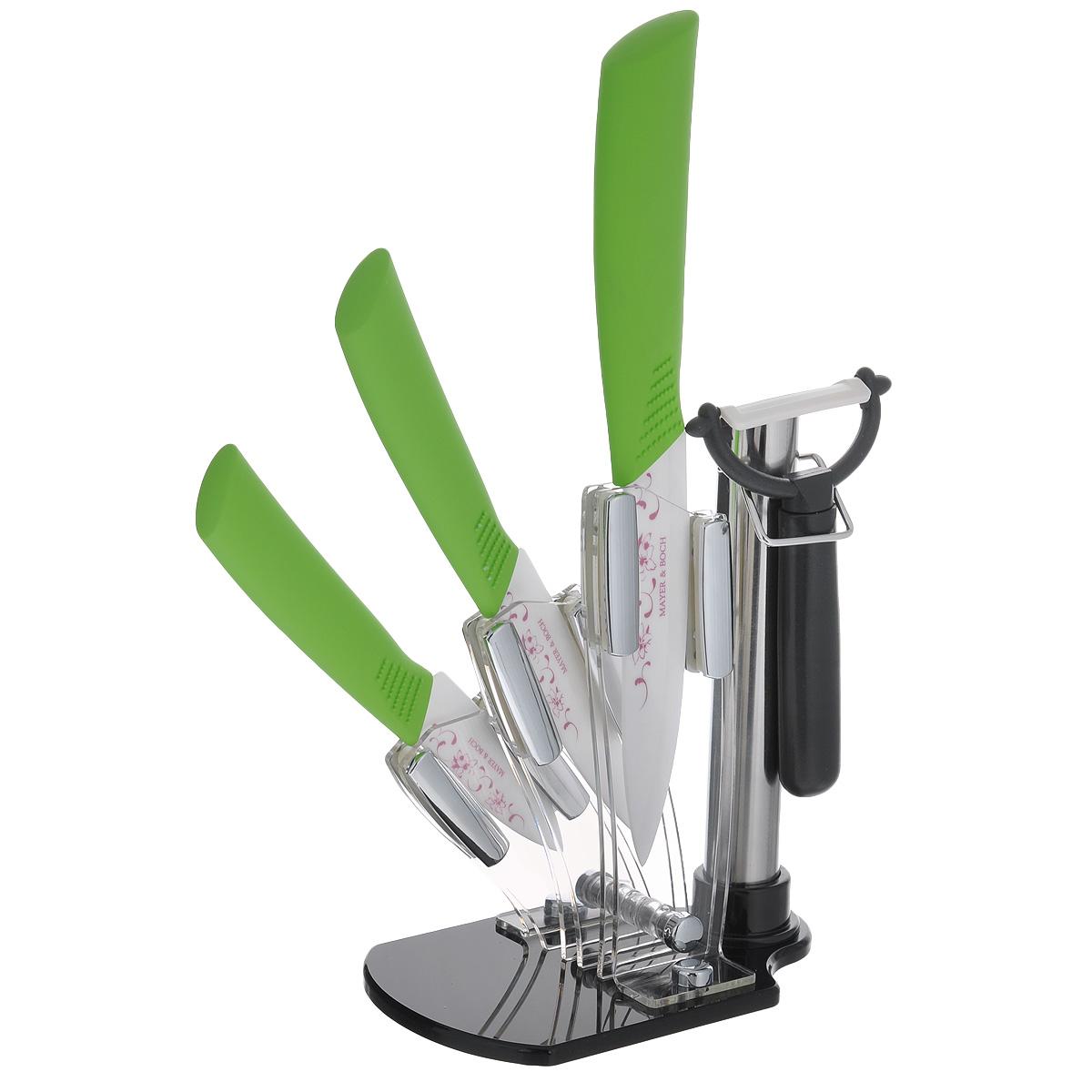 """Набор керамических ножей """"Mayer & Boch"""", цвет: салатовый, 5 предметов. 21863"""