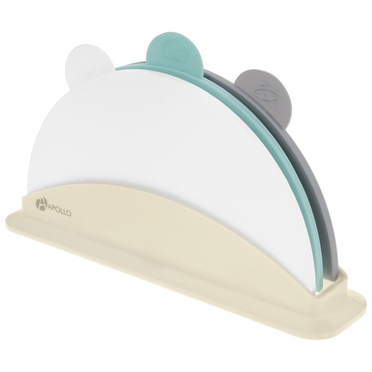 """Apollo Home & Deco Набор разделочных досок Apollo """"Acabo"""", цвет: бирюзовый, серый, белый, 4 предмета"""