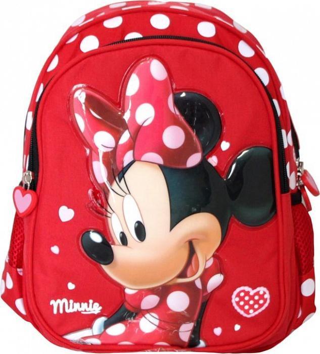 Рюкзак средний Disney Минни Маленькая Мисс22615Милый рюкзачок «Маленькая Мисс» ТМ «Disney» Минни станет верным другом вашей малышки в ее спортивной жизни. Он имеет вместительное отделение на молнии, в которое легко поместятся все необходимые вещи. В лицевой карман на молнии можно положить предметы форматом А5, а два боковых кармашка на резинке подойдут для мелких предметов или фиксации бутылочки для воды. Усиленная спинка комфортно прилегает и оберегает от неприятного взаимодействия с твердыми предметами, которые могут переноситься в рюкзаке. Широкие регулируемые ремни с мягкой прокладкой равномерно распределяют нагрузку на плечевой пояс и оберегают от натирания. Гибкая пластмассовая ручка удобна для ношения в руке. Изделие изготовлено из износостойкой ткани, что позволит ему верно служить долгое время. Аксессуар декорирован ярким принтом (шелкографией), объемной аппликацией PVC и подвесками на застежке в виде сердечка. Прокладка выполнена из полиэстера.