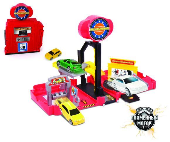 Пламенный мотор Игровой набор Автомойка87534Набор-трансформер Автомойка - это игрушка 2 в 1. Внутри - 1 металлическая машина, автоподъемник, автомойка, магазин автозапчастей.