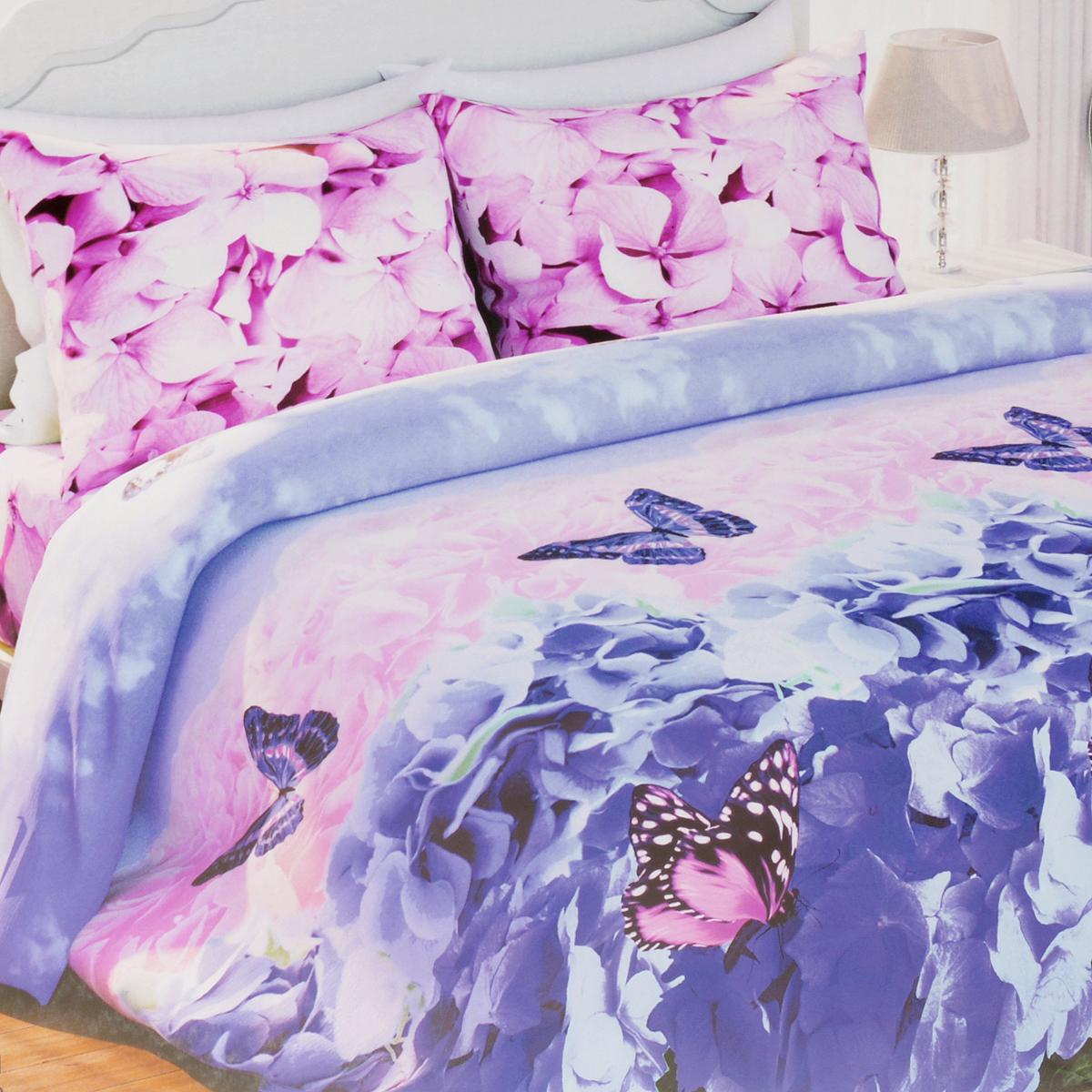 Комплект белья Любимый дом Гортензия, 2-спальный, наволочки 70х70281645Комплект постельного белья Любимый дом Гортензия состоит из пододеяльника, простыни и двух наволочек. Дизайн - цветки гортензии, бабочки. Белье изготовлено из новой ткани Биокомфорт, отвечающей всем необходимым нормативным стандартам. Биокомфорт - это ткань полотняного переплетения, из экологически чистого и натурального 100% хлопка. Неоспоримым плюсом белья из такой ткани является мягкость и легкость, она прекрасно пропускает воздух, приятна на ощупь, не образует катышков на поверхности и за ней легко ухаживать. При соблюдении рекомендаций по уходу, это белье выдерживает много стирок, не линяет и не теряет свою первоначальную прочность. Уникальная ткань обеспечивает легкую глажку.