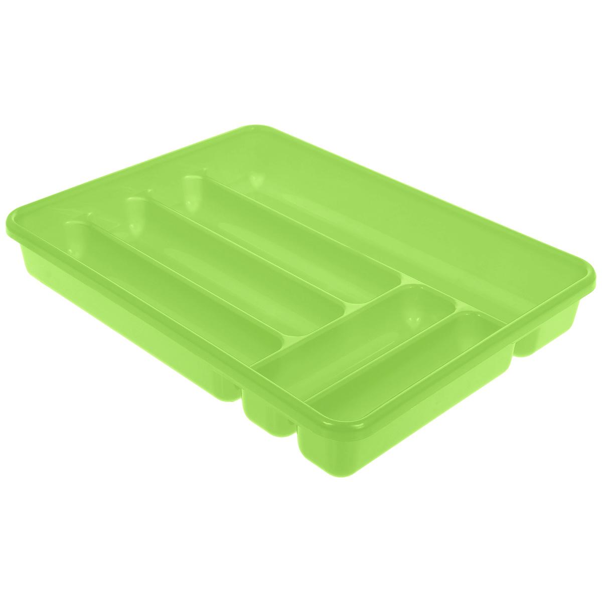 Лоток для столовых приборов Cosmoplast, цвет: салатовый, 6 отделений2142 салатовыйЛоток для столовых приборов Cosmoplast изготовлен из высококачественного пищевого пластика. Он предназначен для выдвигающихся ящиков на кухне. Лоток имеет шесть отделений: три отделения для вилок, ложек, ножей, два малых отделения для чайных ложек и десертных вилок, одно большое отделение для остальных приборов. Размер большого отделения: 38,5 см х 8 см. Размер средних отделений: 27 см х 6,5 см. Размер маленьких отделений: 20 см х 5 см.