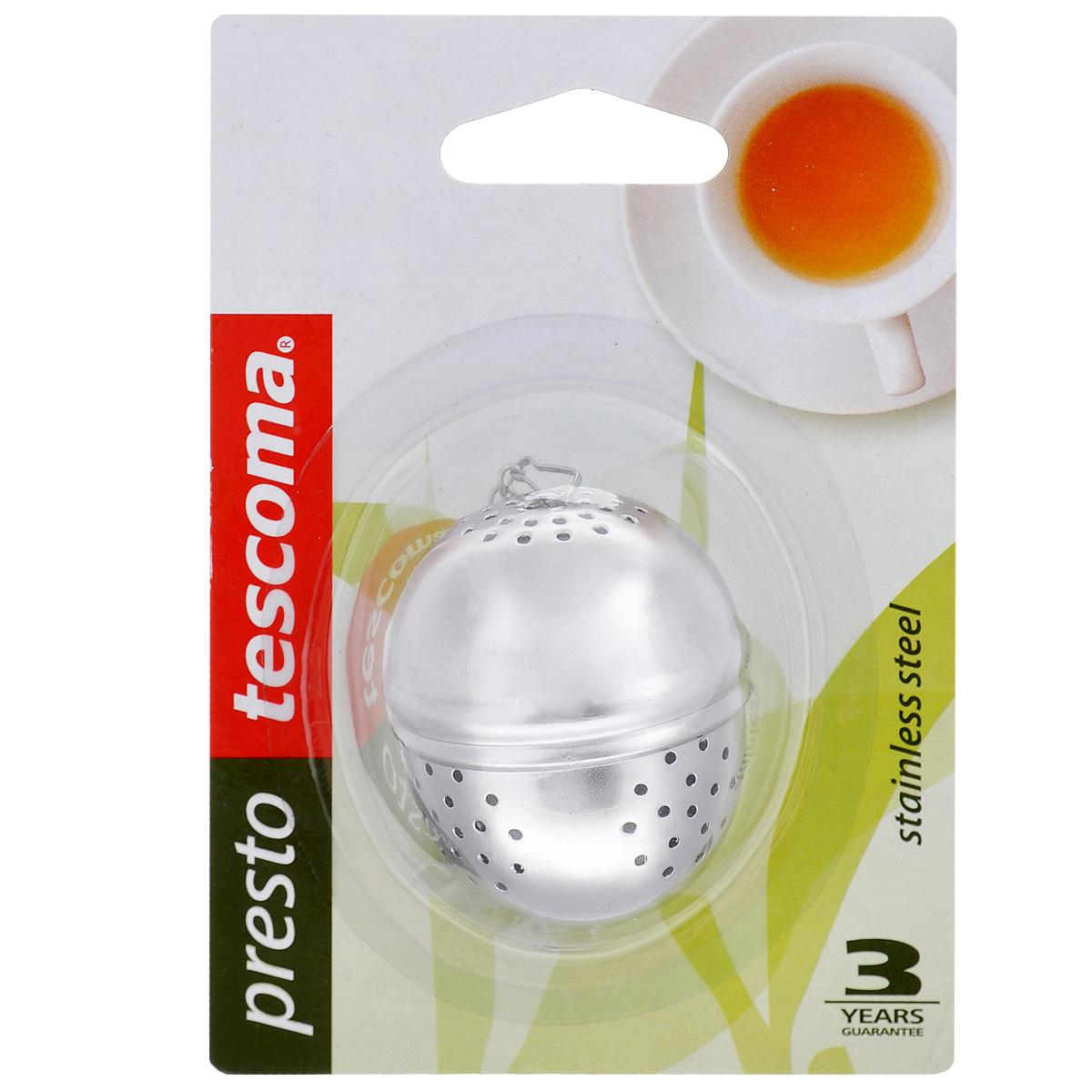 Заварник для чая Tescoma Presto, яйцо420670Заварник для чая Tescoma Presto - это практичный и симпатичный аксессуар для каждой кухни, который используется для приготовления чая, кофе, овощей и кореньев. Выполнен в форме яйца. Заварник изготовлен из благородной нержавеющей стали. Диаметр заварника: 4 см. Высота заварника: 5 см.