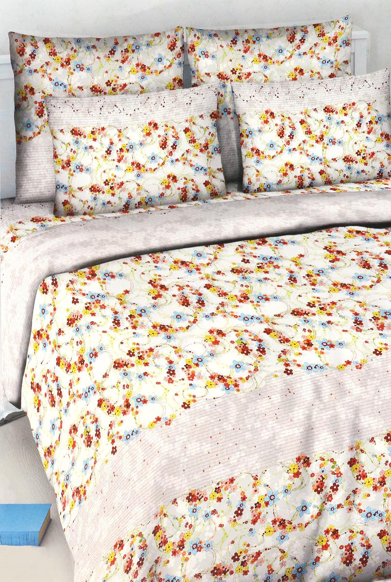 Комплект белья Василиса Цветочный вальс, 1,5-спальный, наволочки 70х70, цвет: белый, серый
