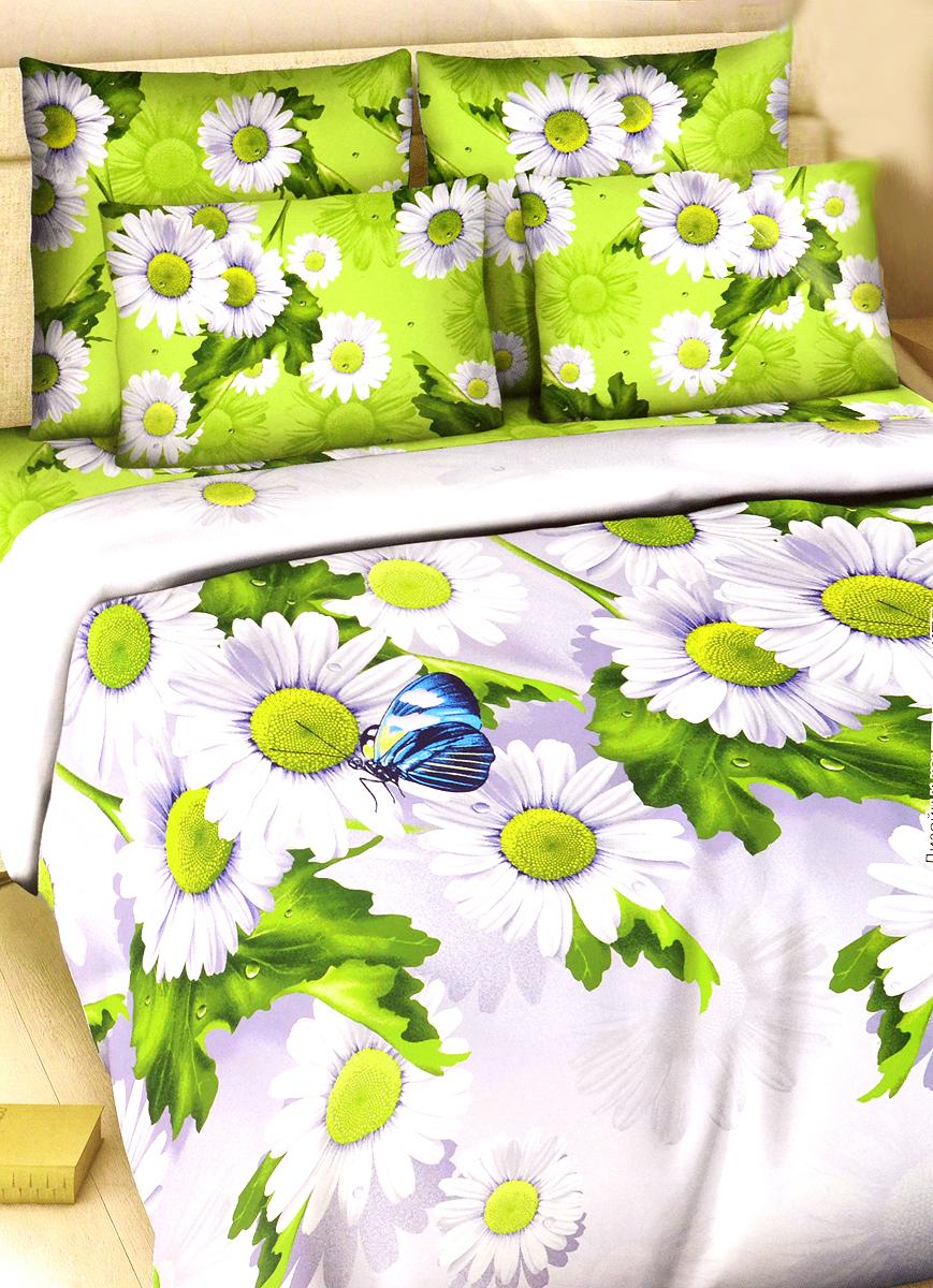 Комплект белья Василиса Летний день, семейный, наволочки 70х70162/сКомплект постельного белья Василиса Летний день состоит из двух пододеяльников, простыни и двух наволочек. Дизайн - крупные сочные ромашки. Белье изготовлено из поплина (хлопка) - гипоаллергенного, экологичного, высококачественного, крупнозакрученного волокна, благодаря чему эта ткань мягкая, нежная на ощупь и очень прочная, не образует катышков на поверхности. При соблюдении рекомендаций по уходу, это белье выдерживает много стирок (более 70), не линяет и не теряет свою первоначальную прочность. Уникальная ткань обеспечивает легкую глажку.