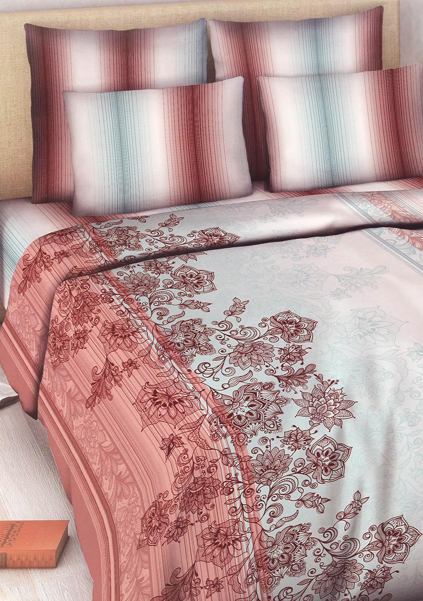 Комплект белья Василиса Роскошь, 1,5-спальный, наволочки 70х70, цвет: бордовый, красный, серый