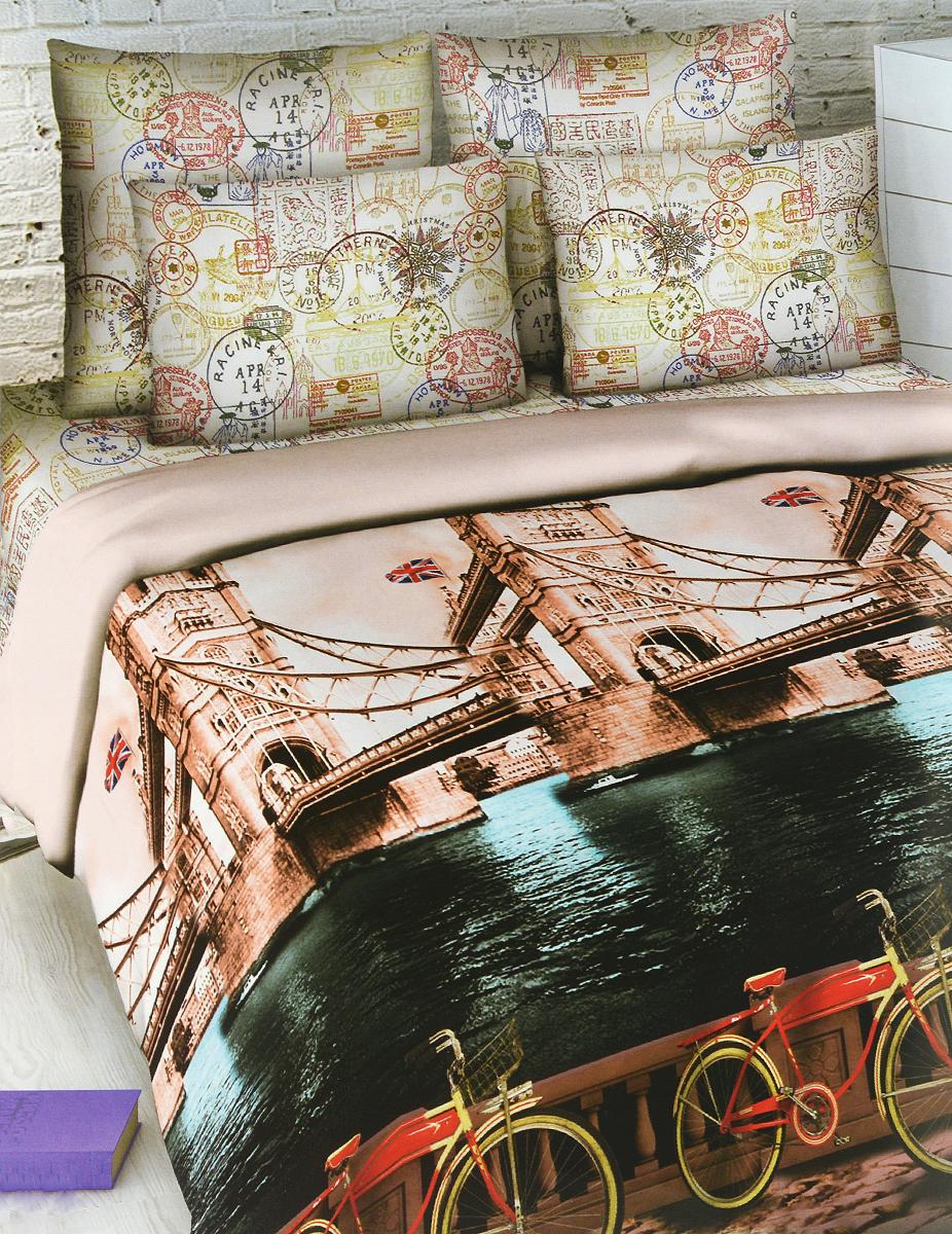 Комплект белья Василиса Тауэрский мост, семейный, наволочки 70х70