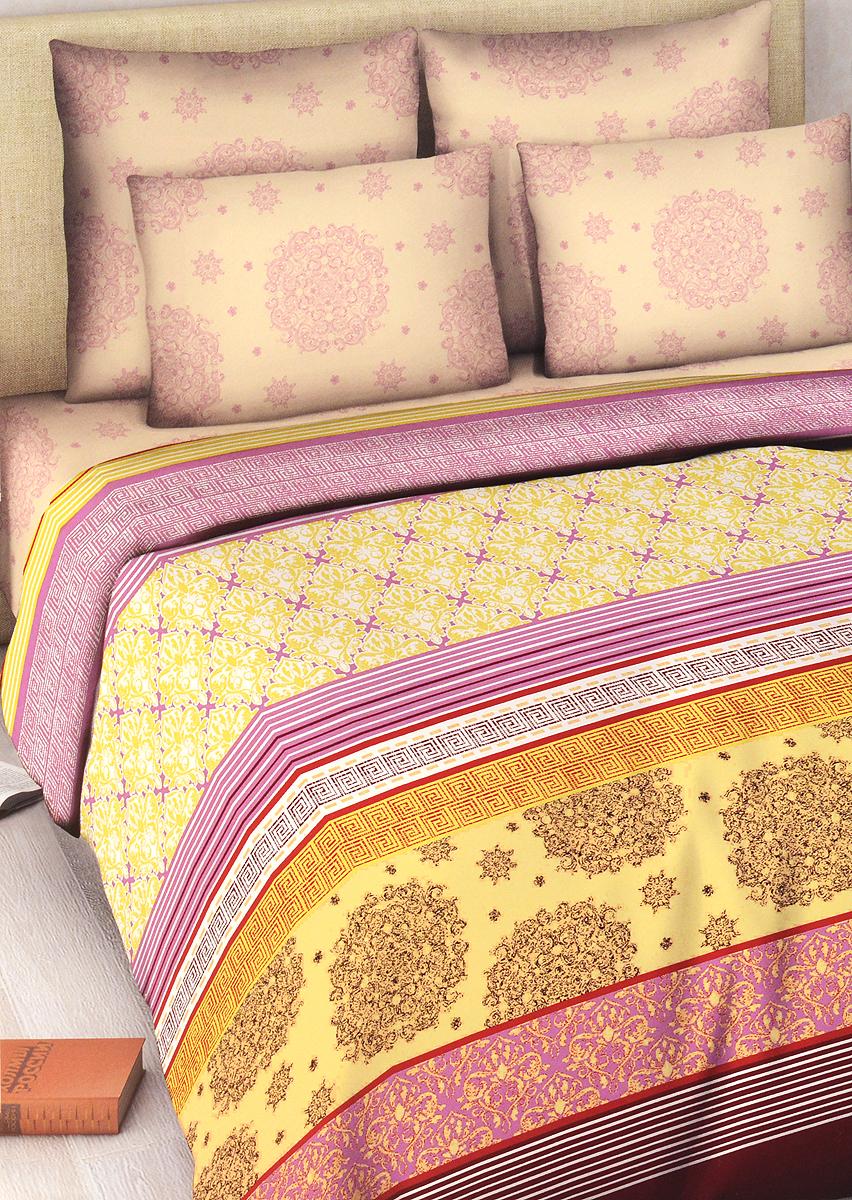 Комплект белья Василиса Элегия, 1,5-спальный, наволочки 70х70, цвет: желтый, фиолетовый5033_2/1,5Комплект постельного белья Василиса Элегия состоит из пододеяльника, простыни и двух наволочек. Дизайн - красочный оригинальный орнамент. Белье изготовлено из бязи - гипоаллергенного, экологичного, высококачественного, крупнозакрученного волокна, благодаря чему эта ткань мягкая, нежная на ощупь и очень прочная, не образует катышков на поверхности. При соблюдении рекомендаций по уходу, это белье выдерживает много стирок (более 70), не линяет и не теряет свою первоначальную прочность. Уникальная ткань обеспечивает легкую глажку.