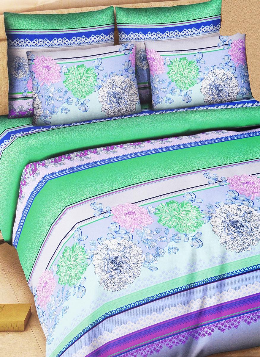 Комплект белья Василиса Рапсодия, 1,5-спальный, наволочки 70х70, цвет: зеленый, синий, розовый325_1/1,5Комплект постельного белья Василиса Рапсодия состоит из пододеяльника, простыни и двух наволочек. Дизайн - крупные сочные цветы. Белье изготовлено из поплина (хлопка) - гипоаллергенного, экологичного, высококачественного, крупнозакрученного волокна, благодаря чему эта ткань мягкая, нежная на ощупь и очень прочная, не образует катышков на поверхности. При соблюдении рекомендаций по уходу, это белье выдерживает много стирок (более 70), не линяет и не теряет свою первоначальную прочность. Уникальная ткань обеспечивает легкую глажку.