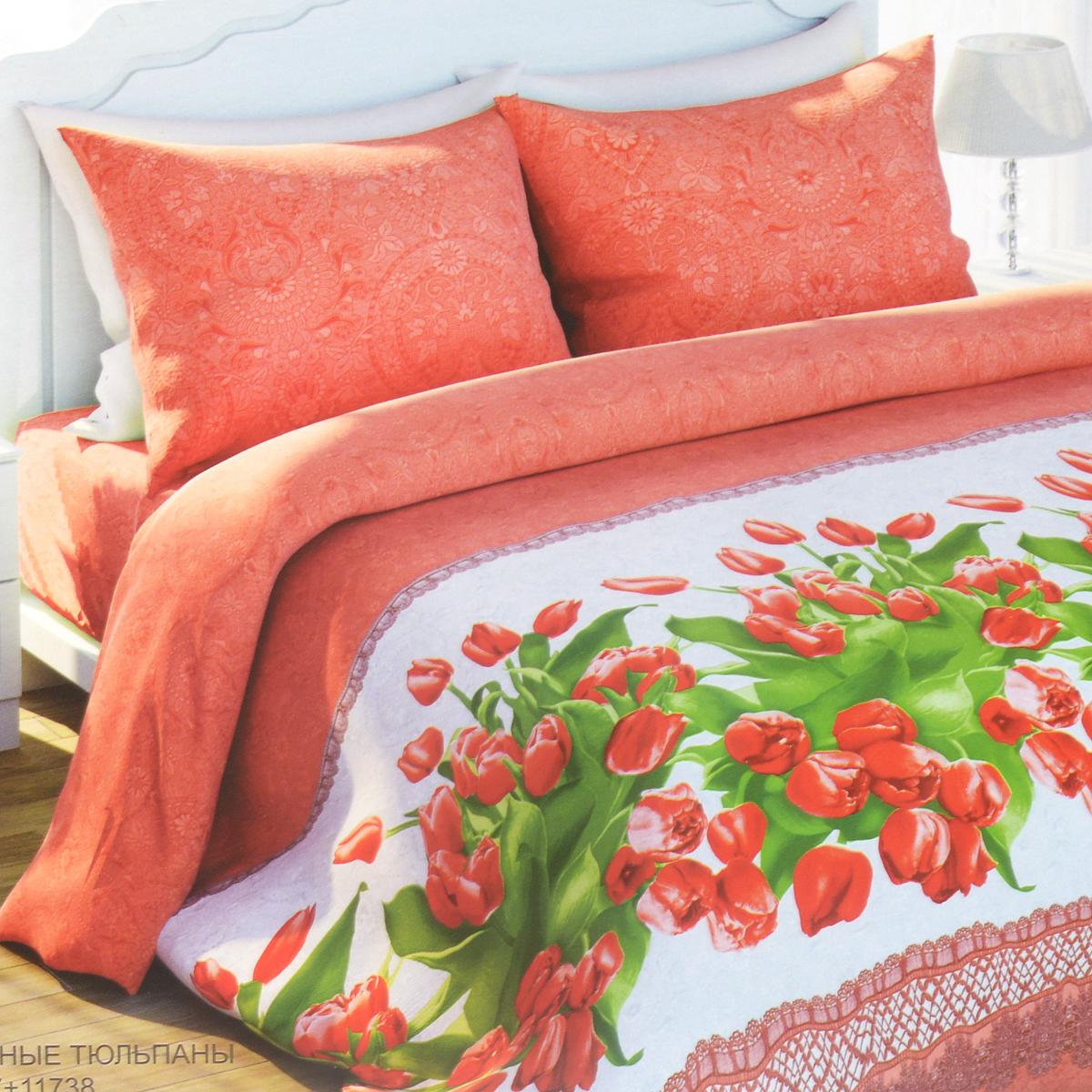 Комплект белья Любимый дом Красные тюльпаны, 1,5-спальный, наволочки 70х70279520Комплект постельного белья Любимый дом Красные тюльпаны состоит из пододеяльника, простыни и двух наволочек. Дизайн - яркие сочные тюльпаны в сочетании с оригинальным орнаментом. Белье изготовлено из новой ткани Биокомфорт, отвечающей всем необходимым нормативным стандартам. Биокомфорт - это ткань полотняного переплетения, из экологически чистого и натурального 100% хлопка. Неоспоримым плюсом белья из такой ткани является мягкость и легкость, она прекрасно пропускает воздух, приятна на ощупь, не образует катышков на поверхности и за ней легко ухаживать. При соблюдении рекомендаций по уходу, это белье выдерживает много стирок, не линяет и не теряет свою первоначальную прочность. Уникальная ткань обеспечивает легкую глажку.