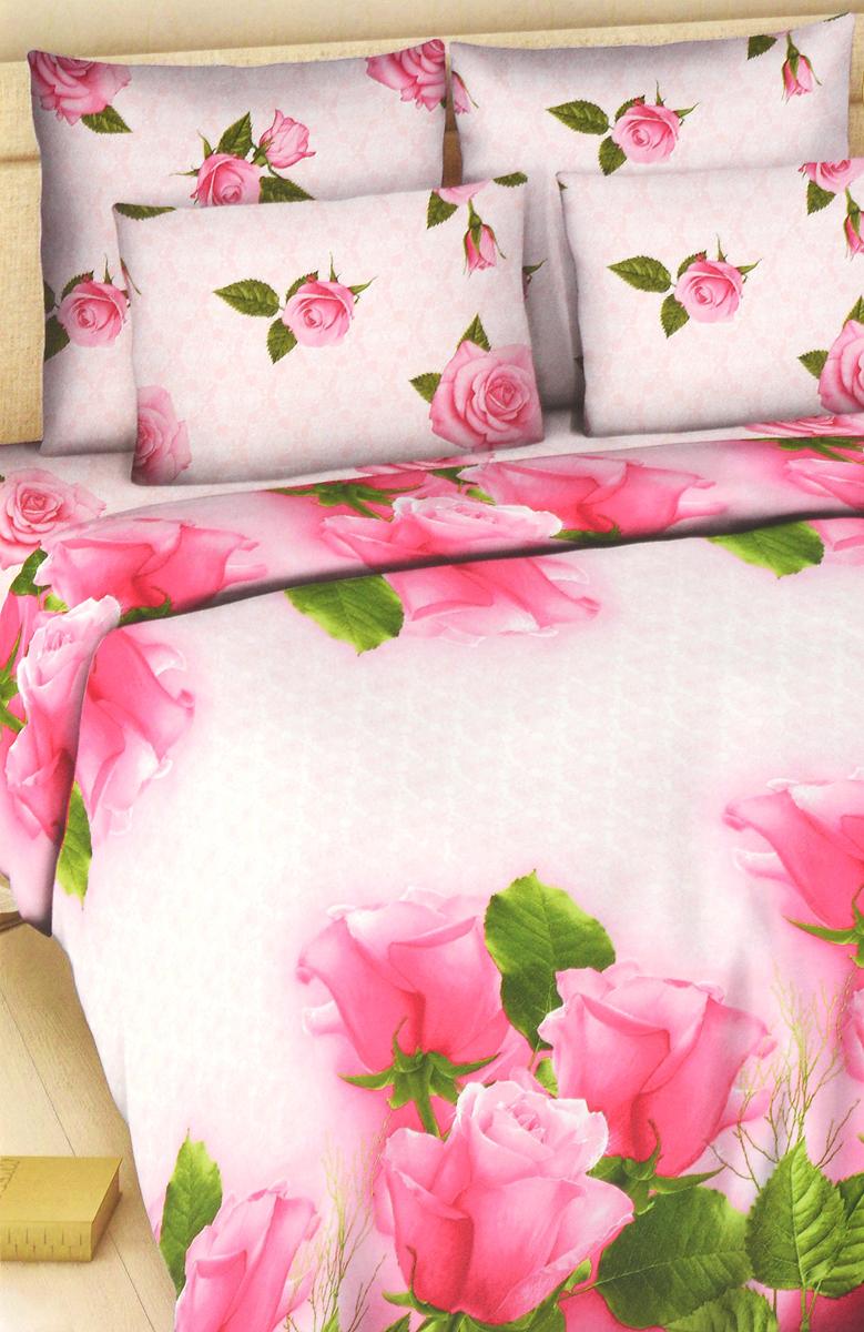 Комплект белья Василиса Розелла, 2-спальный, наволочки 70х70, цвет: розовый, светло-розовый300_1/2Комплект постельного белья Василиса Розелла состоит из пододеяльника, простыни и двух наволочек. Дизайн - крупные сочные розы. Белье изготовлено из поплина (хлопка) - гипоаллергенного, экологичного, высококачественного, крупнозакрученного волокна, благодаря чему эта ткань мягкая, нежная на ощупь и очень прочная, не образует катышков на поверхности. При соблюдении рекомендаций по уходу, это белье выдерживает много стирок (более 70), не линяет и не теряет свою первоначальную прочность. Уникальная ткань обеспечивает легкую глажку.