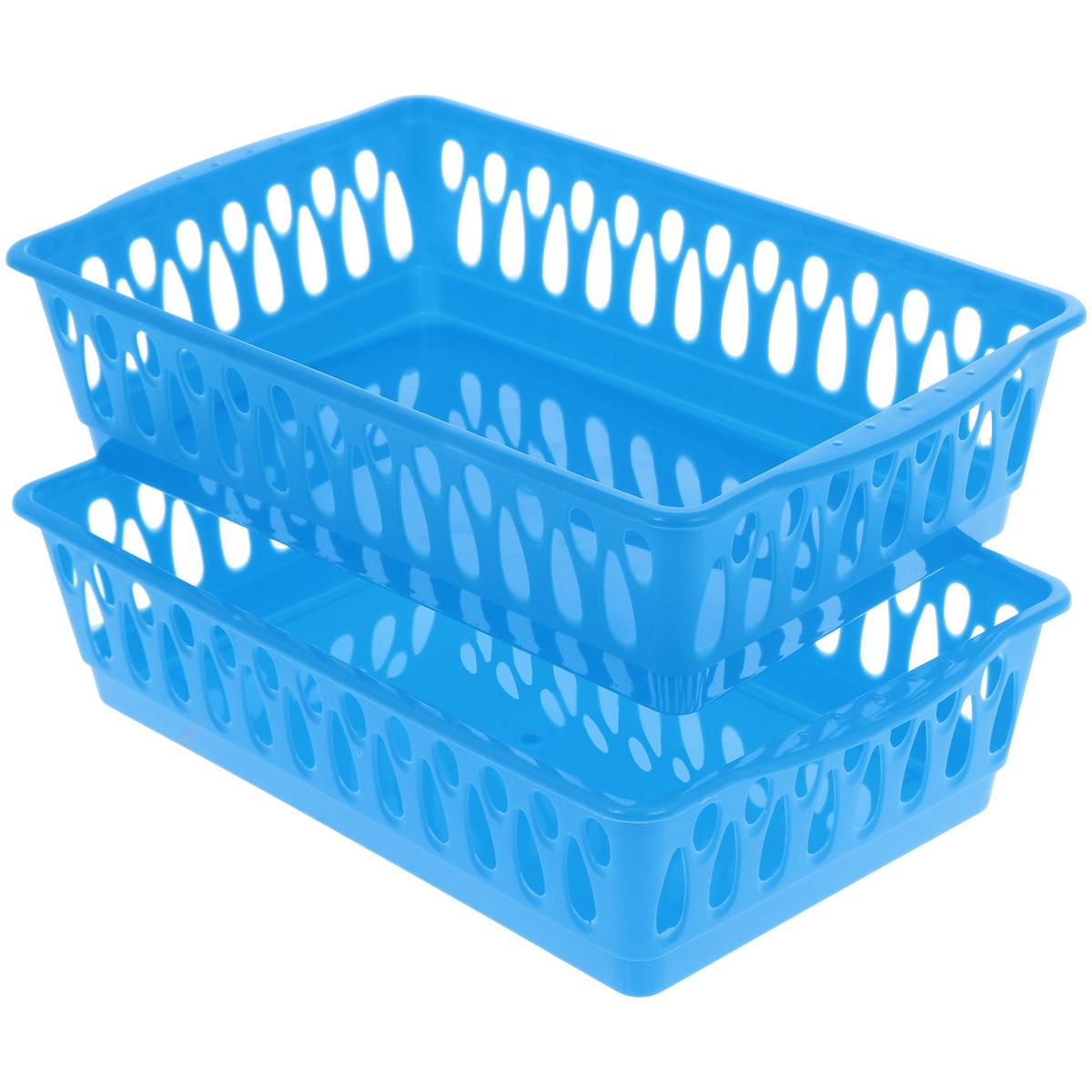 Набор корзинок Dommix, цвет: синий, 24,5 см х 15,5 см х 6 см, 2 шт3169Набор Dommix, выполненный из высококачественного пластика, состоит из двух корзинок. Изделие прекрасно подходит для сервировки стола. Идеальное решение для красивой подачи и хранения фруктов, хлеба, ягод и овощей. Корзинки декорированы овальными отверстиями. Набор корзинок Dommix красиво дополнит интерьер кухни.