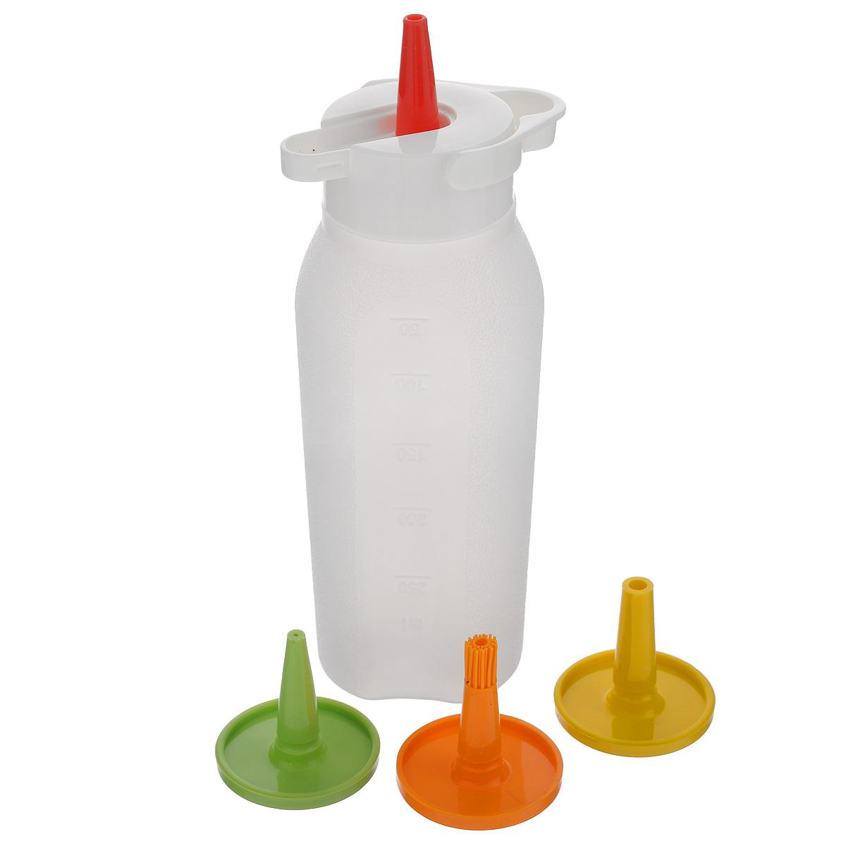 Бутылка дозировочная Tescoma Presto, 4 насадки420728Универсальная гибкая бутылка Tescoma Presto с 4 насадками идеально подходит для легкой дозировки. Прекрасный уплотняющий колпачок позволяет хранить бутылку вверх дном - содержимое останется на месте и не испачкает ни холодильник, ни сумку для транспортировки соуса. Бутылка со шкалой для удобного отмеривания изготовлена из гибкого прочного пластика, насадки из термостойкого силикона. Зеленая насадка для масла и уксуса, красная для кетчупа и горчицы, желтая для майонеза и дрессингов, оранжевая для смазывания маринадом во время запекания и грилования. Подходит для холодильника и посудомоечной машины.