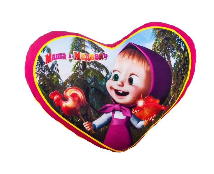 Подушка сердечко Антистресс Маша и Медведь Маша, 34 х 24 см