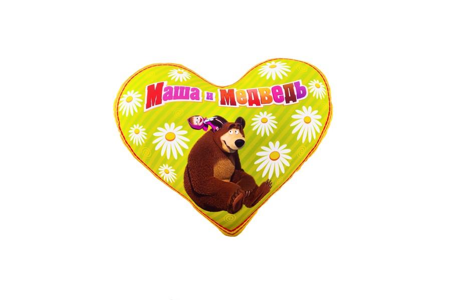 Подушка сердечко Антистресс Маша и Медведь желтая