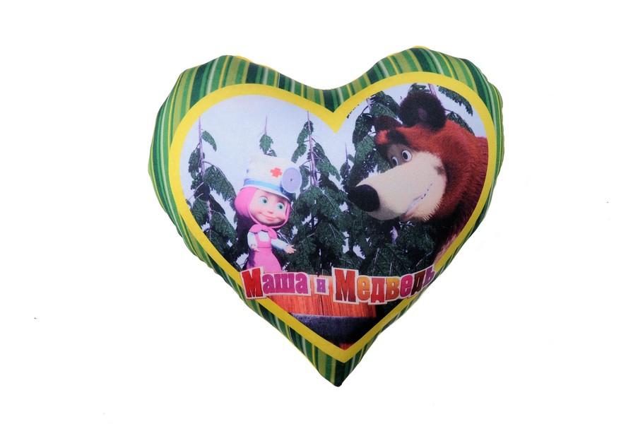 Подушка сердечко Антистресс Маша и Медведь, 19 х 17, цвет: зеленый в полоску