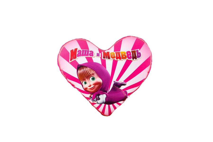 Подушка сердечко Антистресс Маша и Медведь, 15 х 15 см, цвет: розовый