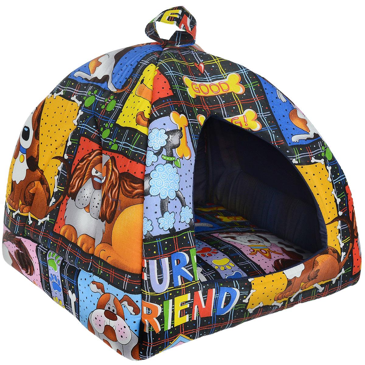 Домик для кошек и собак Гамма, цвет: синий, черный, 41 см х 41 см х 46 смДг-06000 синий, собакиДомик для кошек и собак Гамма обязательно понравится вашему питомцу. Домик предназначен для собак мелких пород и кошек. Изготовлен из хлопковой ткани с красивым принтом, внутри - мягкий наполнитель из мебельного поролона. Стежка надежно удерживает наполнитель внутри и не позволяет ему скатываться. Домик очень удобный и уютный, он оснащен мягкой съемной подстилкой из поролона. Ваш любимец сразу же захочет забраться внутрь, там он сможет отдохнуть и спрятаться. Компактные размеры позволят поместить домик, где угодно, а приятная цветовая гамма сделает его оригинальным дополнением к любому интерьеру. Размер подушки: 39 см х 39 см х 2 см. Внутренняя высота домика: 39 см. Толщина стенки: 2 см. ...