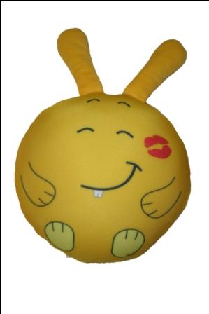 Игрушка подушка Заяц-смайлик с поцелуем В24