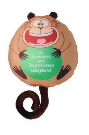 Подушка обезьянка Жужу В282932/БЖ-9/28Мягкая игрушка-подушка СмолТойс Обезьянка Жужу с забавной надписью способна стать аккумулятором хорошего настроения и отличным подарком для ваших близких или друзей. Помимо того, что антистрессовые подушки очень эффектны и красивы, они создают поистине волшебный релаксирующий эффект. Главный секрет - в наполнителе. Внутри подушки находятся тысячи мельчайших гранул полистирола (наполнителя высшего качества). Эти подушки легки, упруги и всегда хорошо выглядят, как бы вы их ни сжимали, они неизменно возвращают себе первоначальную форму. Оригинальный стиль и великолепное качество исполнения делают эту игрушку-подушку чудесным подарком к любому празднику.