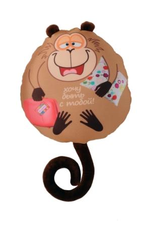 Подушка обезьянка Жужу В282932/БЖ-13/28Мягкая игрушка-подушка СмолТойс Обезьянка Жужу с забавной надписью способна стать аккумулятором хорошего настроения и отличным подарком для ваших близких или друзей. Помимо того, что антистрессовые подушки очень эффектны и красивы, они создают поистине волшебный релаксирующий эффект. Главный секрет - в наполнителе. Внутри подушки находятся тысячи мельчайших гранул полистирола (наполнителя высшего качества). Эти подушки легки, упруги и всегда хорошо выглядят, как бы вы их ни сжимали, они неизменно возвращают себе первоначальную форму. Оригинальный стиль и великолепное качество исполнения делают эту игрушку-подушку чудесным подарком к любому празднику.