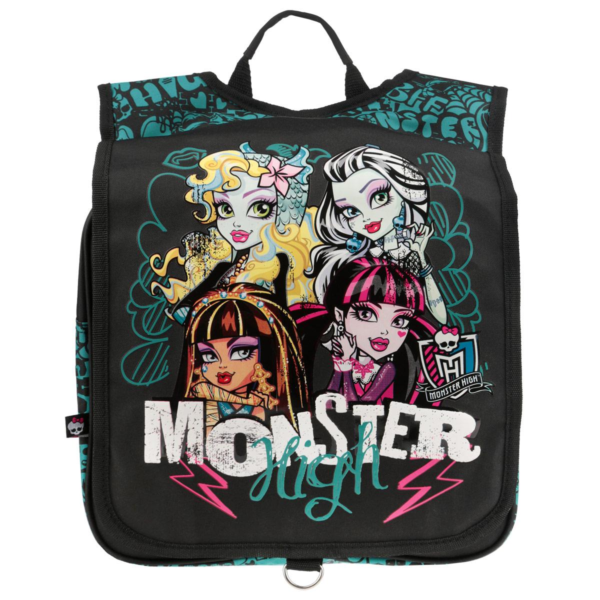 Рюкзак Monster High, цвет: черный, бирюзовый. MHBA-UT1-382MHBA-UT1-382Рюкзак Monster Highвыполнен из прочного полиэстера черного цвета и оформлен изображением героинь Monster High. Рюкзак состоит из одного вместительного отделения, застегивающегося на застежку-молнию. Сверху имеется накидной клапан на липучке. Рюкзак оснащен широкими мягкими лямками, регулируемыми по длине, которые равномерно распределяют нагрузку на плечевой пояс, и удобной ручкой для переноски в руке.