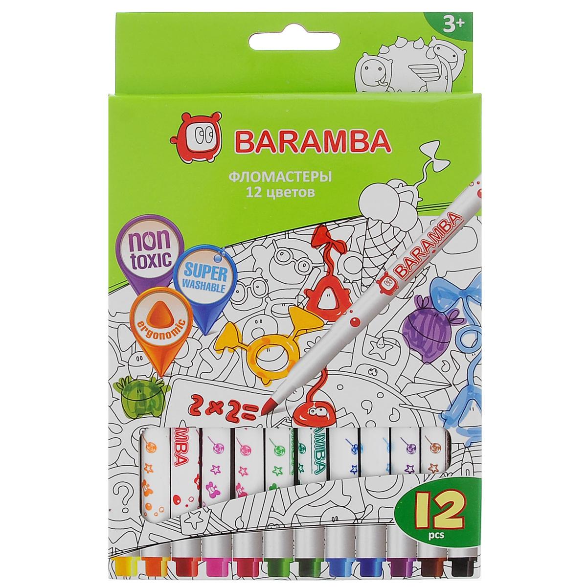 Набор фломастеров Baramba, 12 цветовB80712Фломастеры Baramba откроют юным художникам новые горизонты для творчества, а также помогут отлично развить мелкую моторику рук, цветовое восприятие, фантазию и воображение. Фломастеры на водной основе не токсичны и не содержат спирта. Фломастеры ярких насыщенных цветов легко отмываются от кожи рук теплой водой с мылом. Чернила без запаха не высыхают без колпачка более 5 недель! Комплект включает 12 фломастеров ярких насыщенных цветов. Не рекомендуется детям до 3-х лет.