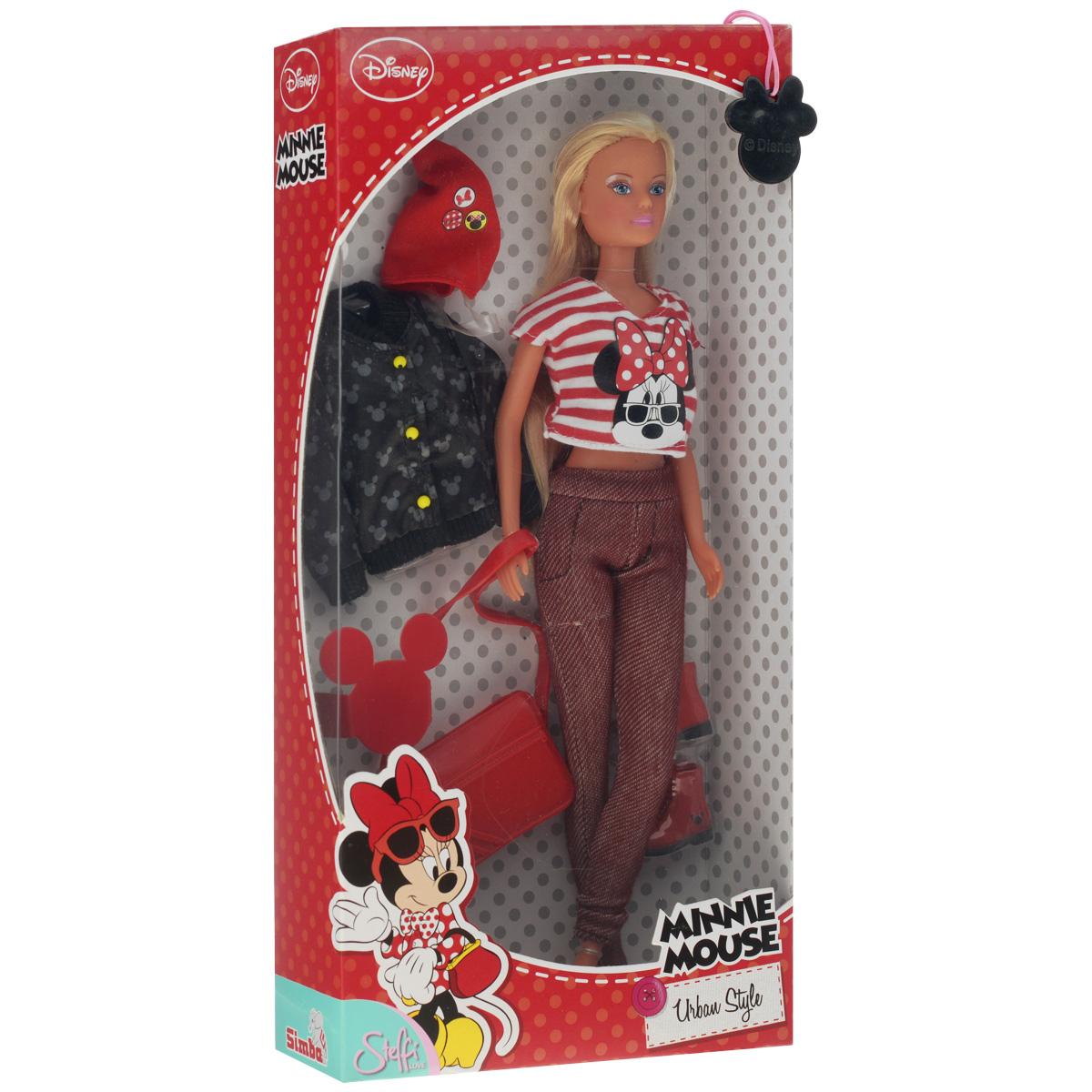 Simba Кукла Штеффи Minnie Mouse, блондинка в штанах и полосатой футболке, 29 см5745877_блондинка в полосатой футболке и штанахSimba Кукла Штеффи Minnie Mouse непременно приведет в восторг вашу малышку и обязательно станет ее любимой игрушкой. Очаровательная блондинка одета в штаны и полосатую футболку с изображением Минни Маус. Все элементы безопасны для ребенка. В комплект с куклой входят: куртка, головной убор, обувь и сумочка. Руки и ноги куклы подвижны, что позволяет придавать ей различные позы. Благодаря играм с куклой, ваша малышка сможет развить фантазию и любознательность, овладеть навыками общения и научиться ответственности. Девочка сможет часами играть с этой милой куколкой, придумывая различные истории.