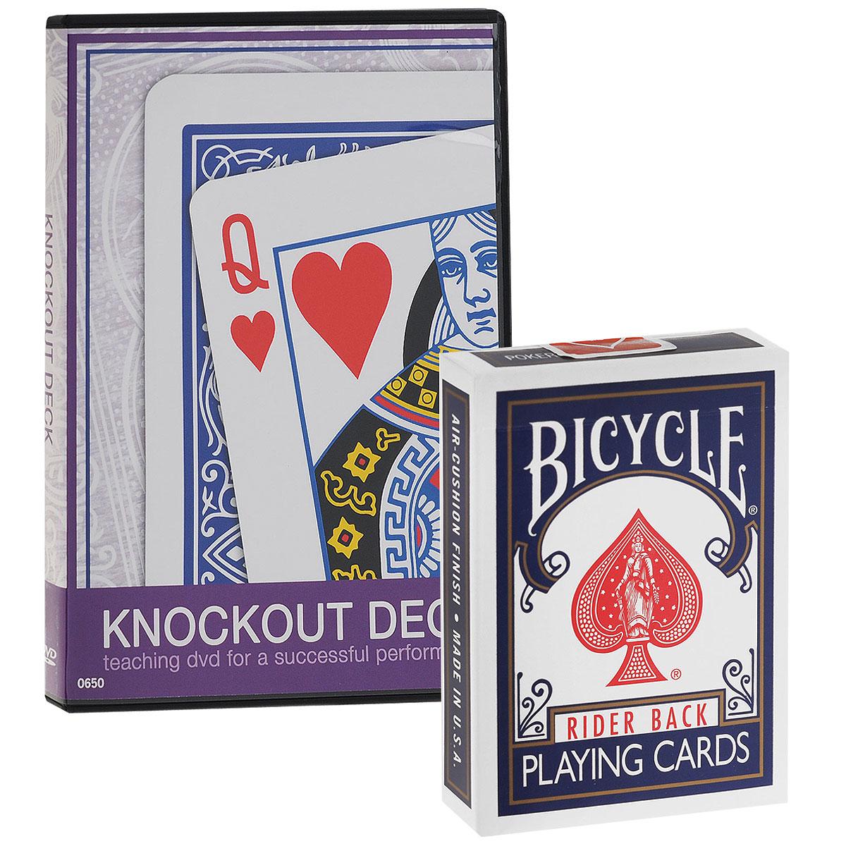 Карты для фокусов Bicycle Knockout Deck, цвет: синий, красный, белый, 56 штук + обучающий DVD650Карты для фокусов Bicycle Knockout Deck изготовлены из картона с пластиковым покрытием. Колода имеет классический покерный размер и дизайн, создана на основе колоды Bicycle Standard, поэтому они ни внешним видом, ни на ощупь, не отличаются от игральной колоды. С ними вы сможете совершенствовать свое мастерство и удивлять друзей и коллег. С этой колодой вы сможете выполнить великолепный фокус! Исполнитель показывает обычную колоду Bicycle. Все карты в ней разные. Затем зритель выбирает любую карту из колоды, сказав стоп во время пролистывания. Никакого форсирования. После нескольких магических пассов над колодой все карты превращаются в выбранную зрителем. Можно раскрыть их лентой на столе, чтобы все убедились в том, что абсолютно все карты превратились. В наборе обучающий DVD диск, в котором для вас раскроют все секреты фокуса Bicycle Knockout Deck. Диск на английском языке.