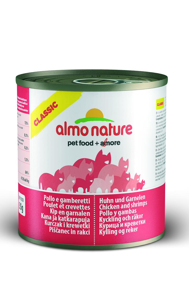 Консервы для кошек Almo Natureс Classic, с курицей и креветками, 280 г20068Консервы Almo Nature Classic - сбалансированный влажный корм для кошек, изготовленный из ингредиентов высшего качества, являющихся натуральными источниками витаминов и питательных веществ. Состав: курица 38%, креветки 12%, бульон, рис 3%. Пищевая ценность: белки 13%, клетчатка 0,1%, масла и жиры 0,2%, зола 1,5%, влажность 84%. Калорийность: 472 ккал/кг. Товар сертифицирован.