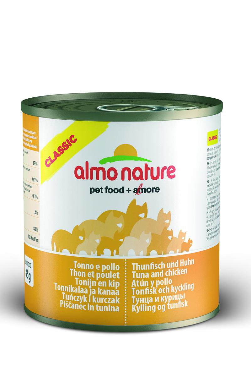 Консервы для кошек Almo Natureс Classic, с тунцом и курицей, 280 г20071Консервы Almo Nature Classic - сбалансированный влажный корм для кошек, изготовленный из ингредиентов высшего качества, являющихся натуральными источниками витаминов и питательных веществ. Состав: куриное филе 50%, рыбный бульон 42%, тунец 5%, рис 3%. Гарантированный анализ: белок - 14%, клетчатка - 0,5%, жиры - 0,5%, зола - 2%, влажность - 83%. Калорийность - 530 ккал/кг. Товар сертифицирован.