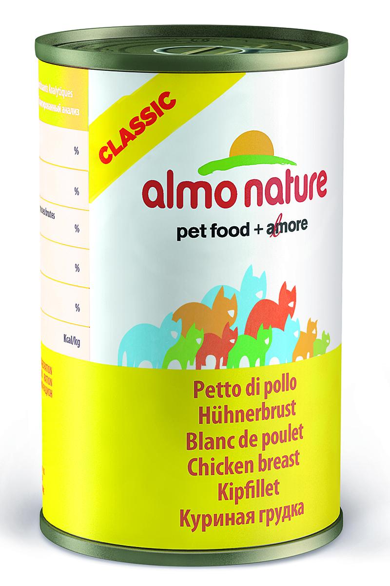 Консервы для Кошек Куриная грудка (Classic Adult Cat Chicken Breast), 140 г.20074Состав: куриное филе 55%, куриный бульон 42%, рис 3%. Пищевая ценность: белки 16%, клетчатка 0.1%, масла и жиры 0.3%, зола 1.4%, влажность 83%. Калорийность 585 ккал/кг.
