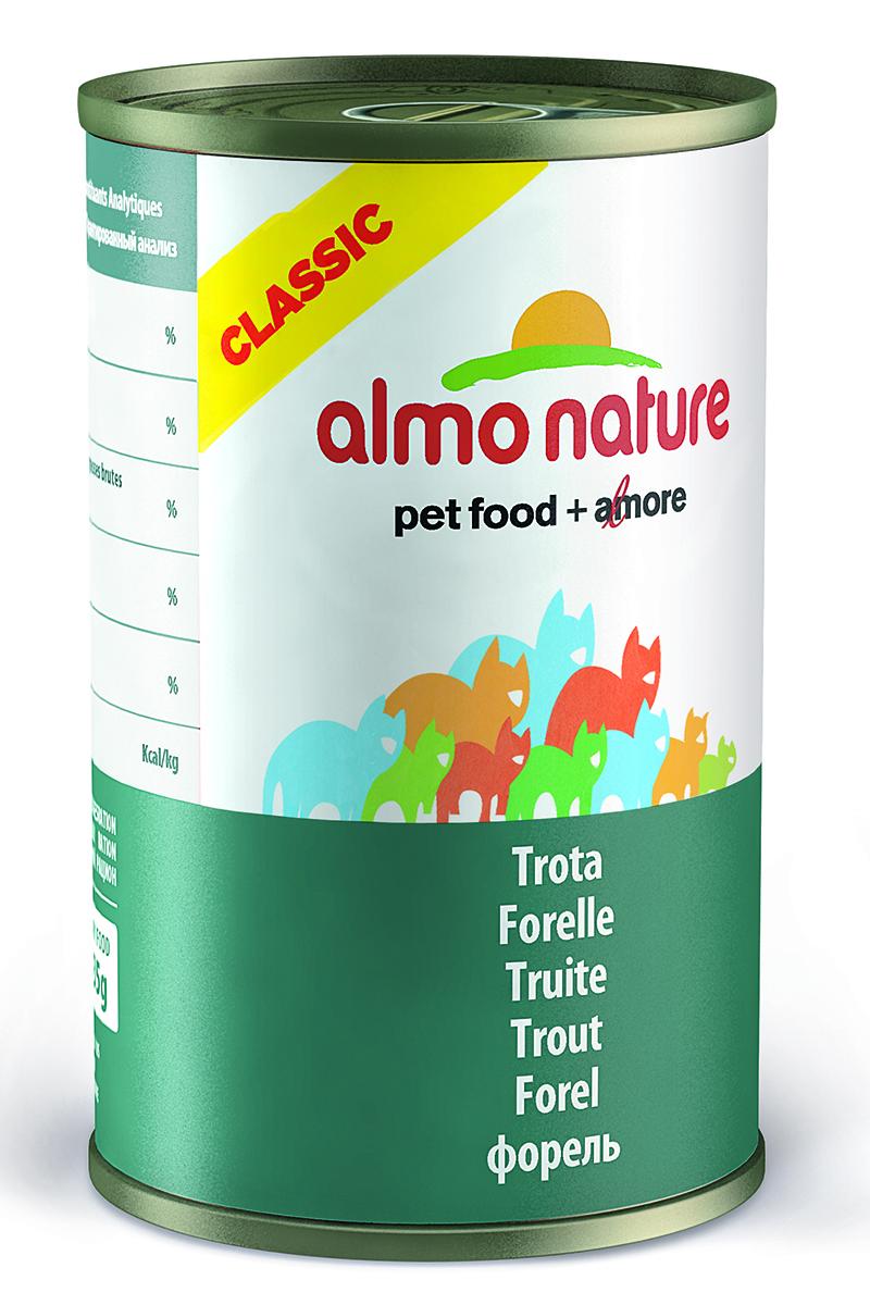 Консервы для кошек Almo Natureс Classic, с форелью, 140 г20083Консервы Almo Nature Classic - сбалансированный влажный корм для кошек, изготовленный из ингредиентов высшего качества, являющихся натуральными источниками витаминов и питательных веществ. Состав: форель 55%, куриный бульон 42%, рис 3%. Товар сертифицирован.