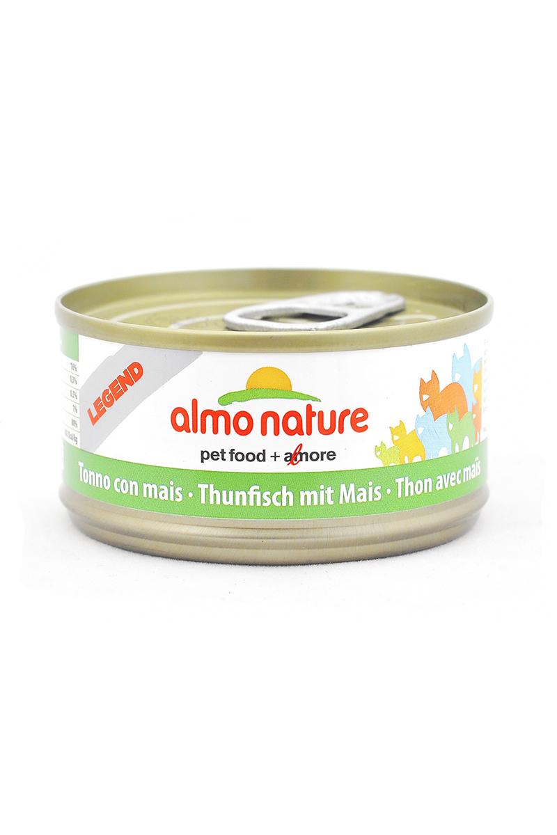 Консервы для кошек Almo Nature Legend, с тунцом и сладкой кукурузой, 70 г20135Консервы Almo Nature - супер-премиум корм для кошек, в банках, сохраняющих свежесть каждого кусочка. Корм изготовлен только из свежих высококачественных натуральных ингредиентов, что обеспечивает здоровье вашей кошки. Не содержит ГМО, антибиотиков, химических добавок, консервантов и красителей. Состав: тунец 70%, рыбный бульон 24%, кукурузное пюре 5%, рис 1%. Пищевая ценность: белки 15%, клетчатка 0.3%, жиры 0.5%, зола 1%, влажность 80%. Товар сертифицирован.