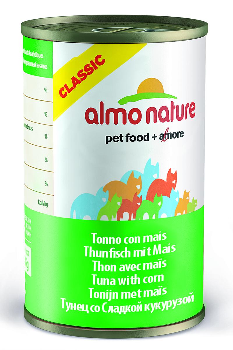 Консервы для кошек Almo Natureс Classic, с тунцом и кукурузой, 140 г20333Консервы Almo Nature Classic - сбалансированный влажный корм для кошек, изготовленный из ингредиентов высшего качества, являющихся натуральными источниками витаминов и питательных веществ. Состав: тунец 50%, рыбный бульон 42%, маис 5%, рис 3%. Гарантированный анализ: белки 12%, клетчатка 0.1%, масла и жиры 0.3%, зола 1.4%, влажность 83%. Калорийность: 450 ккал/кг. Товар сертифицирован.