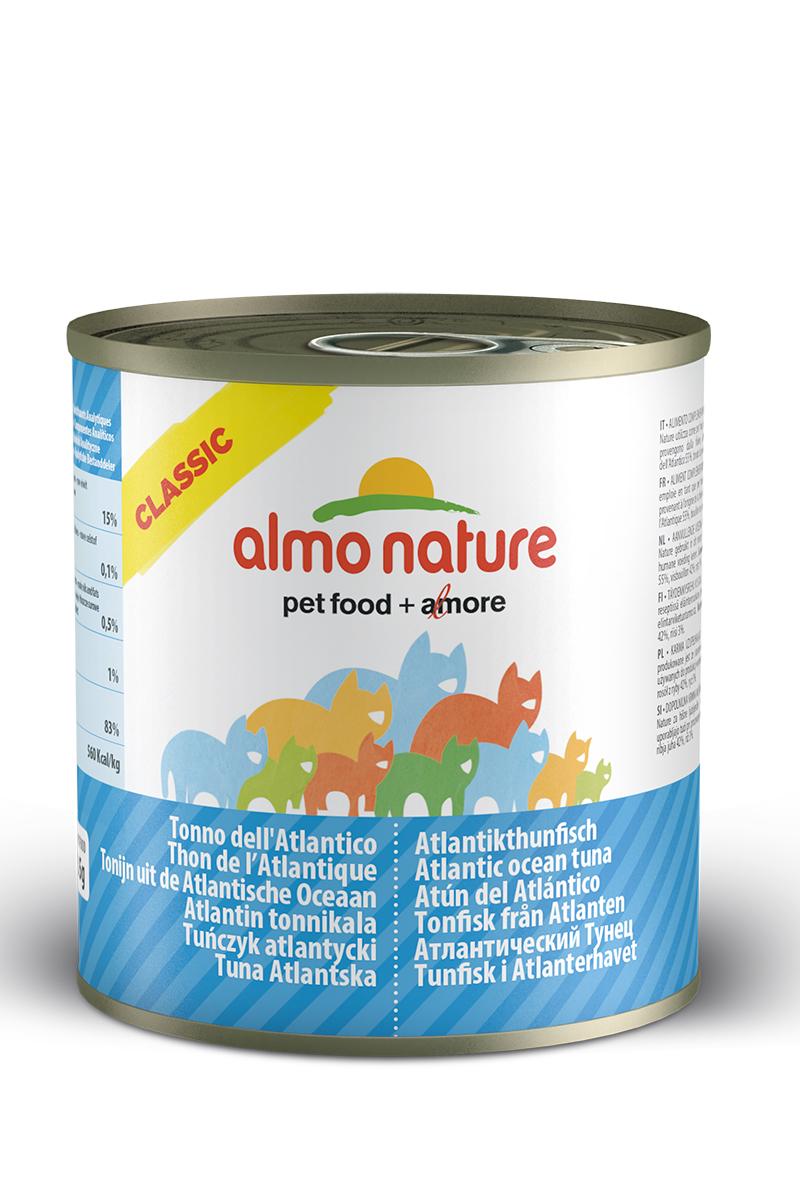 Консервы для кошек Almo Natureс Classic, с атлантическим тунцом, 280 г20335Консервы Almo Nature Classic - сбалансированный влажный корм для кошек, изготовленный из ингредиентов высшего качества, являющихся натуральными источниками витаминов и питательных веществ. Состав: атлантический тунец 55%, рыбный бульон 42%, рис 3%. Пищевая ценность: белки 15%, клетчатка 0.1%, масла и жиры 0.5%, зола 1%, влажность 83%. Калорийность: 560 ккал/кг. Товар сертифицирован.