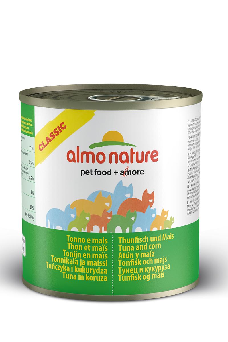 Консервы для кошек с Тунцом и кукурузой (Classic Tuna and Corn), 280 г.20336Консервы Almo Nature Classic - сбалансированный влажный корм для кошек, изготовленный из ингредиентов высшего качества, являющихся натуральными источниками витаминов и питательных веществ. Состав: тунец 50%, рыбный бульон 42%, маис 5%, рис 3%. Гарантированный анализ: белки 12%, клетчатка 0.1%, масла и жиры 0.3%, зола 1.4%, влажность 83%. Калорийность: 450 ккал/кг. Товар сертифицирован.