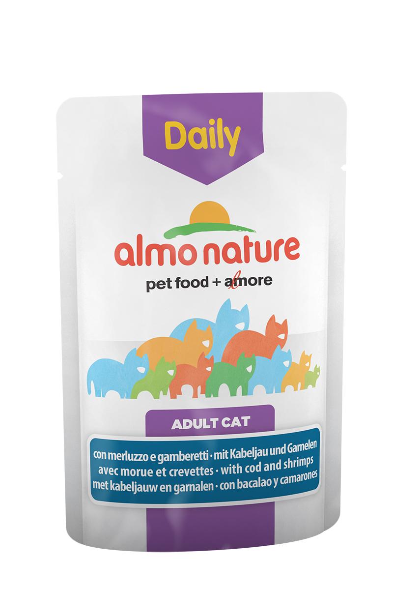 Консервы для взрослых кошек Almo Nature Daily, с треской и креветками, 70 г20342Консервы Almo Nature Daily - это корм, рекомендованный взрослым кошкам. Угощение изготавливается из свежих и натуральных ингредиентов, которые были упакованы сырыми, затем стерилизованы, чтобы сохранить питательные вещества и вкус. Ваш питомец будет в полном восторге. Не содержит сои, консервантов, ароматизаторов, искусственных красителей, усилителей вкуса. Состав: мясо и его производные, овощи, рыба и ее производные (треска 4%), моллюски и рачки (креветки 4%), производные растительного происхождения, экстракт растительного белка, минералы. Пищевая ценность: белки 9%, клетчатка 0,8%, масла и жиры 5%, зола 3%, влажность 82%. Товар сертифицирован.