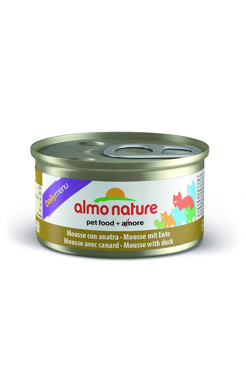 Консервы нежный мусс для кошек Меню с Уткой (Daily Menu mousse with Duck), 85 г.20347Состав: мясо и его производные (утка 4%), минералы, экстракт растительных волокон. Добавки: витамин A 1110 IU/кг, витамин D3 140 IU/кг, витамин E 10 мг/кг, таурин 490 мг/кг, сульфат меди пентагидрат 4,4 мг/кг (Cu 1.1 мг/кг). Технологические добавки: камедь кассии 3000 мг/кг. Пищевая ценность: белки 9,5%, клетчатка 0,4%, масла и жиры 6%, зола 2%, влажность 81%. Калорийность: 881 килокалорий/кг