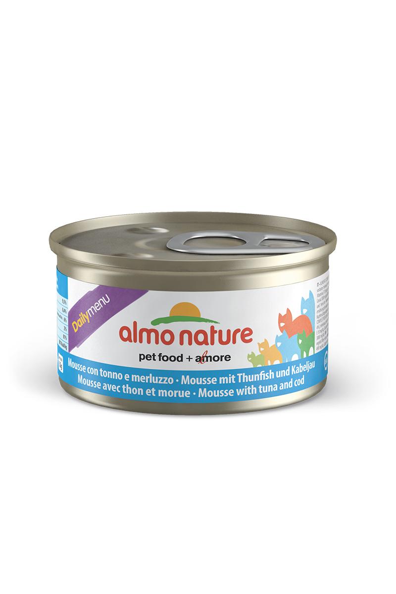 Консервы нежный мусс для кошек Меню с Тунцом и Треской (Daily Menu mousse Tuna and Cod), 85 г.20350Состав: мясо и его производные, рыба и ее производные (тунец 4%, треска 4%), минералы, экстракт растительного белка. Пищевые добавки: витамин A 1110 IU/кг, витамин D3 140 IU/кг, витамин E 10 мг/кг, таурин 490 мг/кг,сульфат меди пентагидрат 4,4 мг/кг (Cu 1,1 мг/кг); технологические добавки: камедь кассии 3000 мг/кг. Пищевая ценность: белки 9.5%, клетчатка 0.4%, масла и жиры 6%, зола 2%, влажность 81%. Калорийность: 881ккал/кг.