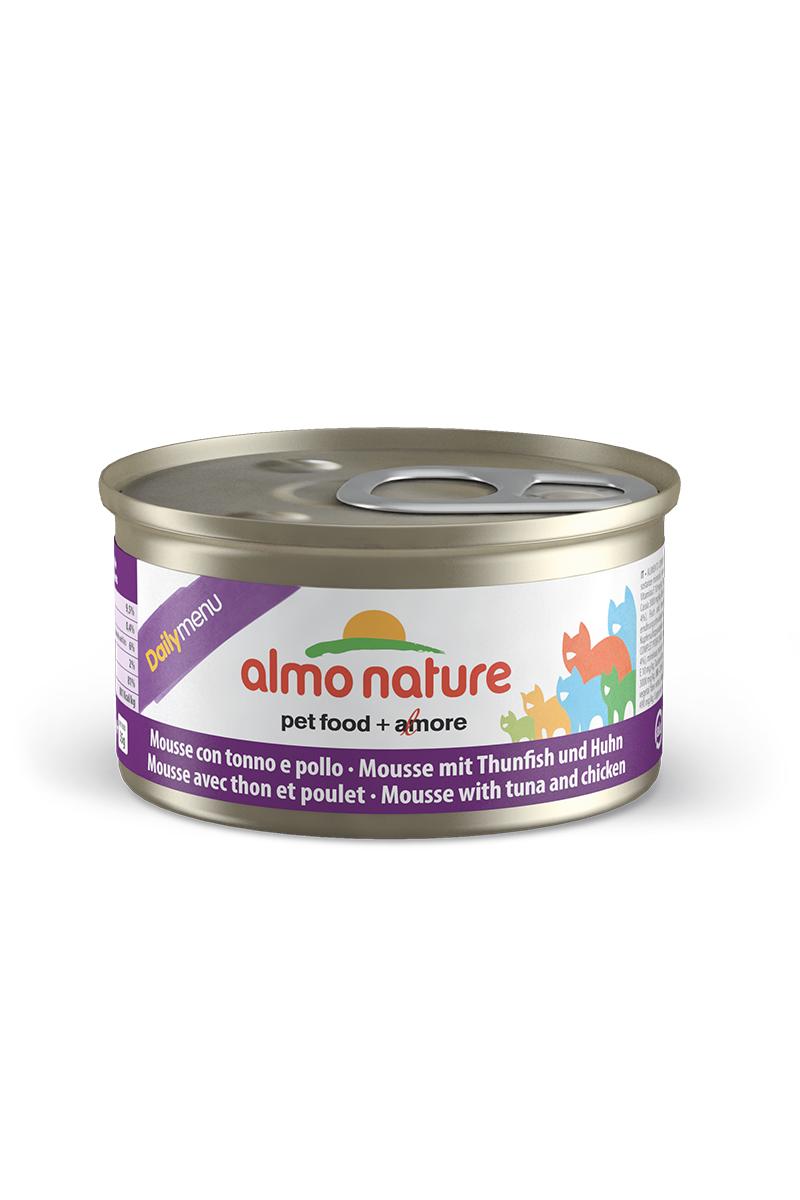 Консервы нежный мусс для кошек Меню с Тунцом и Курицей (Daily Menu mousse Tuna and Chicken), 85 г.20351Состав: мясо и его производные, рыба и ее производные (тунец 4%, треска 4%), минералы, экстракт растительного белка. Пищевые добавки: витамин A 1110 IU/кг, витамин D3 140 IU/кг, витамин E 10 мг/кг, таурин 490 мг/кг,сульфат меди пентагидрат 4,4 мг/кг (Cu 1,1 мг/кг); технологические добавки: камедь кассии 3000 мг/кг. Пищевая ценность: белки 9.5%, клетчатка 0.4%, масла и жиры 6%, зола 2%, влажность 81%. Калорийность: 881ккал/кг.